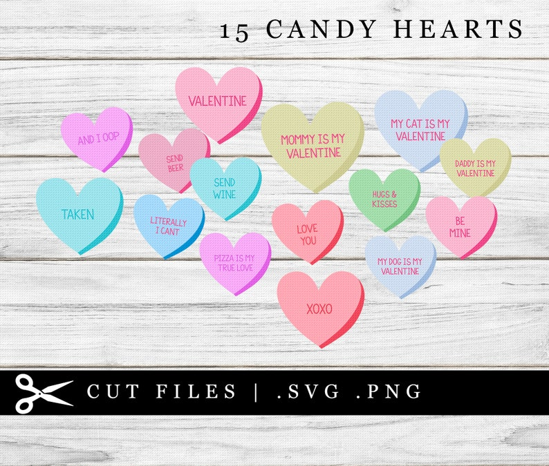 Candy Hearts with Text SVG PNG Cutting File Cricut Valentine image 0