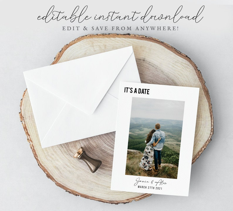 5x7 Save the Date Template Instant Download Minimalist image 0