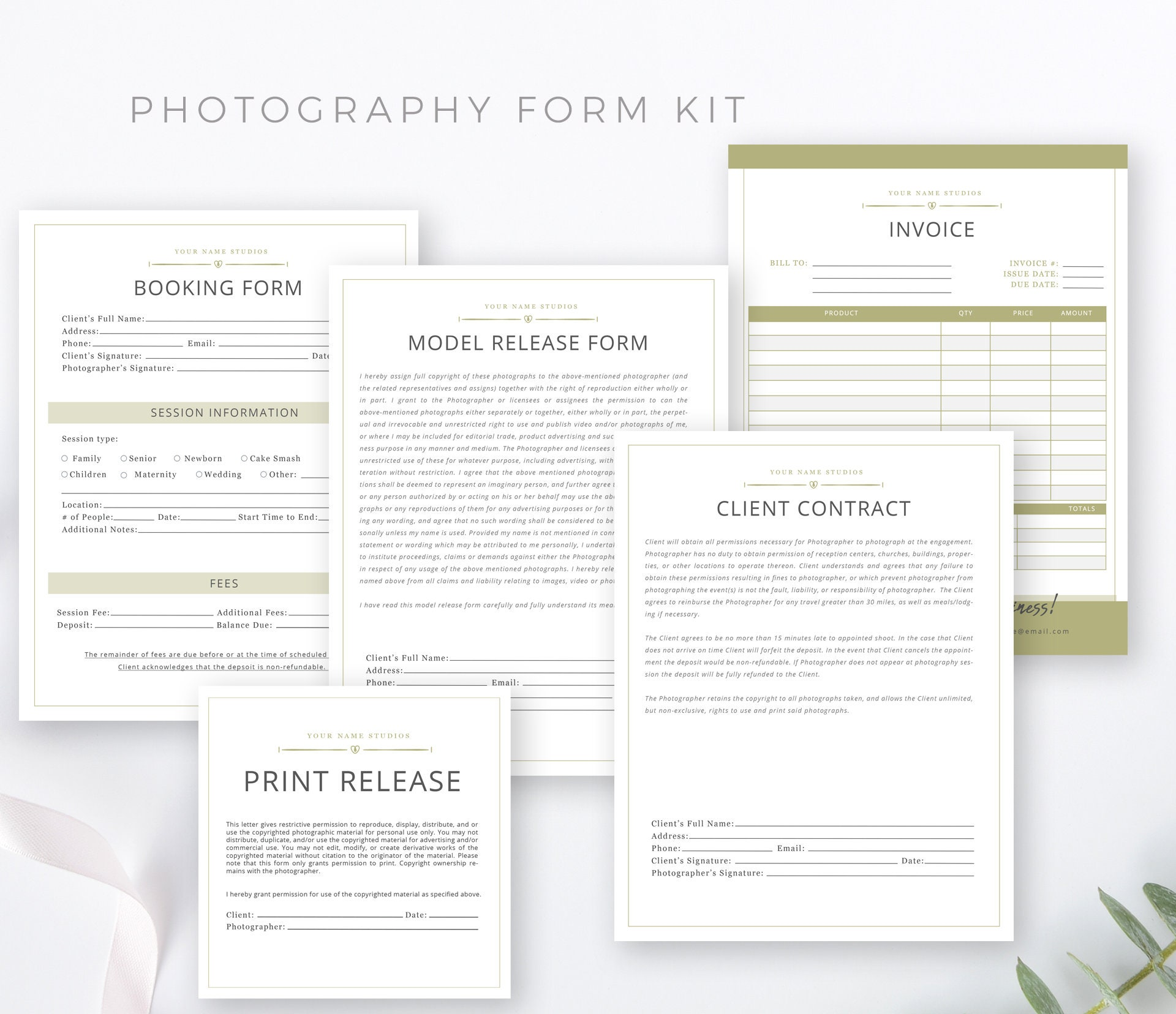 Photography Marketing Form Bundle Kit, Templates, PSD, Invoice, Model  Release, Print Release, Contract