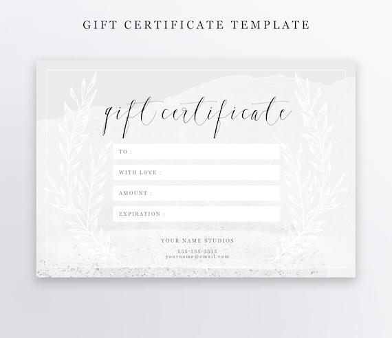 Photography Gift Certificate Template Psd 4x6 Editable Etsy