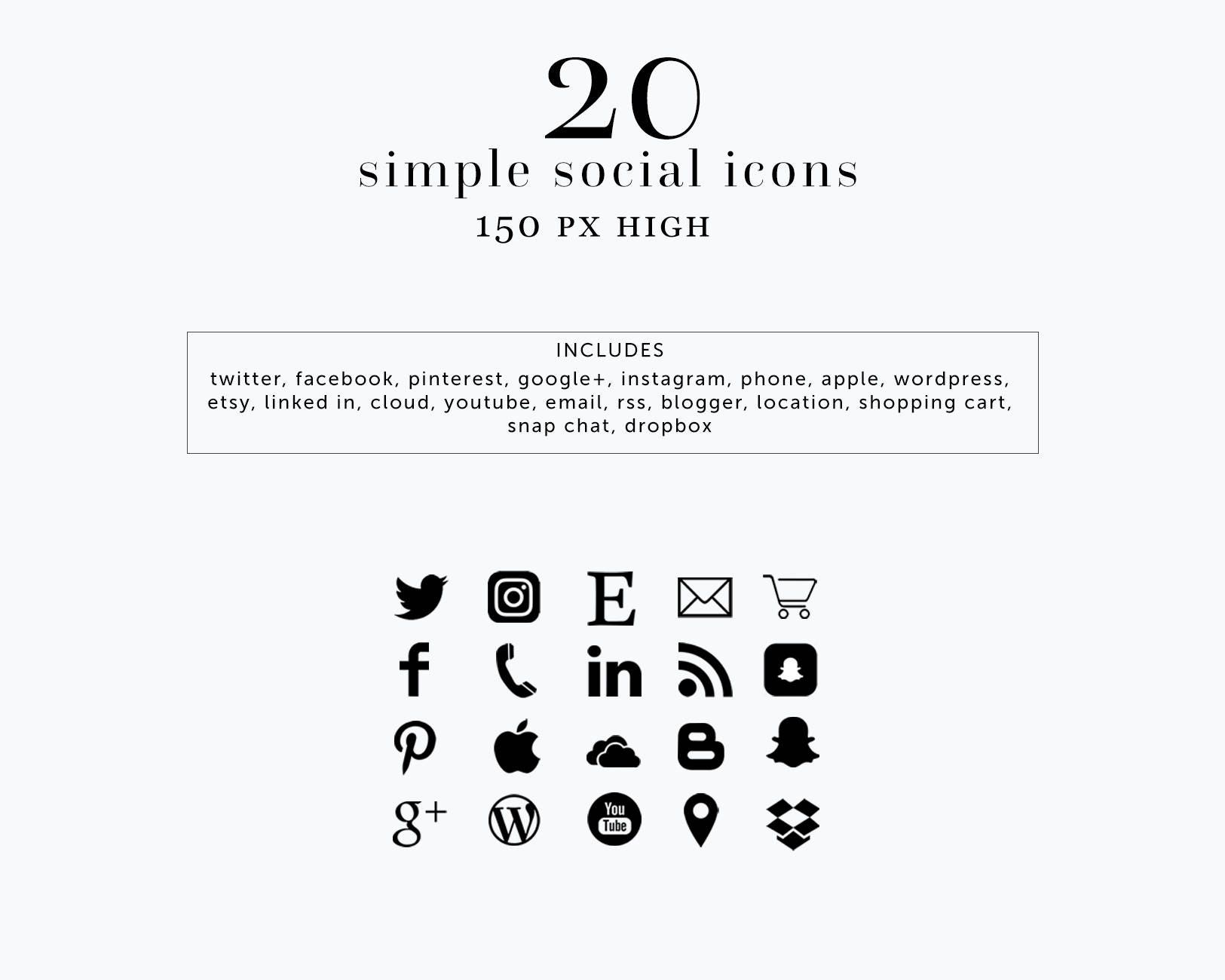INSTANT DOWNLOAD Social Media Icons Black Simple Social Icons