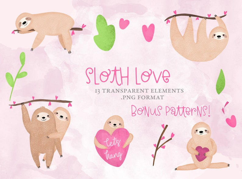 Sloth Love Valentine's Day Clipart image 0