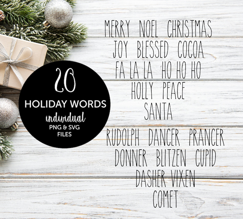 20 Christmas Words SVG PNG Reindeer Names Rae Dunn Inspired image 0