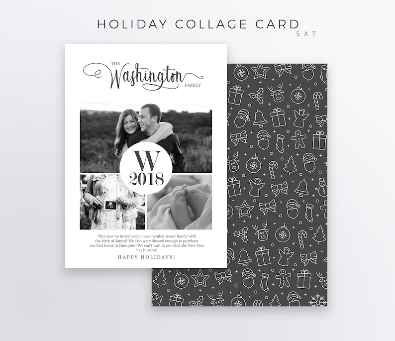 5x7 Monogram Holiday Card Collage Christmas Card Template Etsy