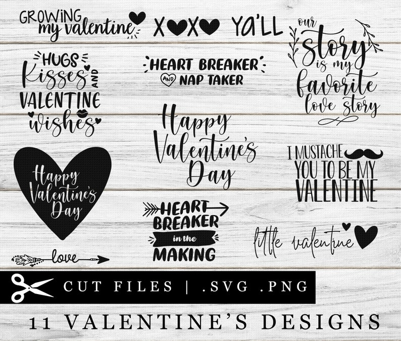 Valentine's Bundle Typography Text Design SVG PNG Cutting image 0