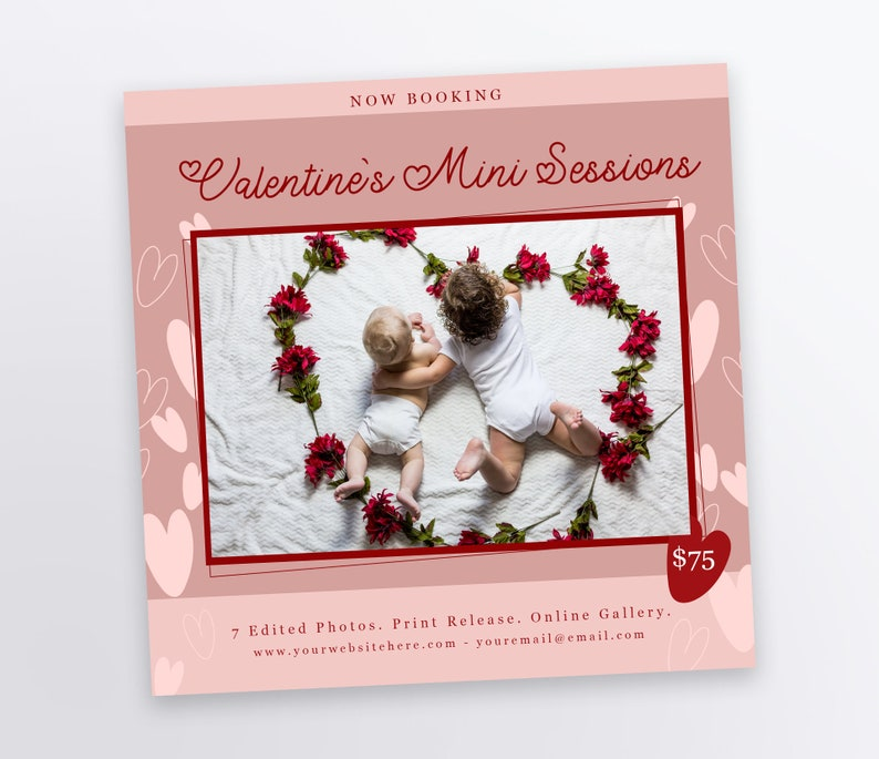 Valentine's Day Mini Session Template 5x5 Photography image 0
