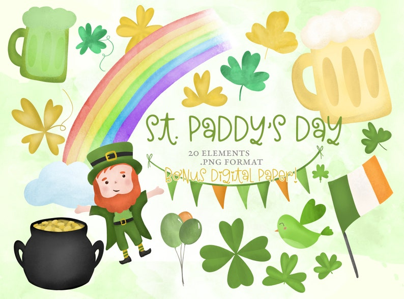 St. Patrick's Day Clipart Rainbow Pot of Gold Beer image 0