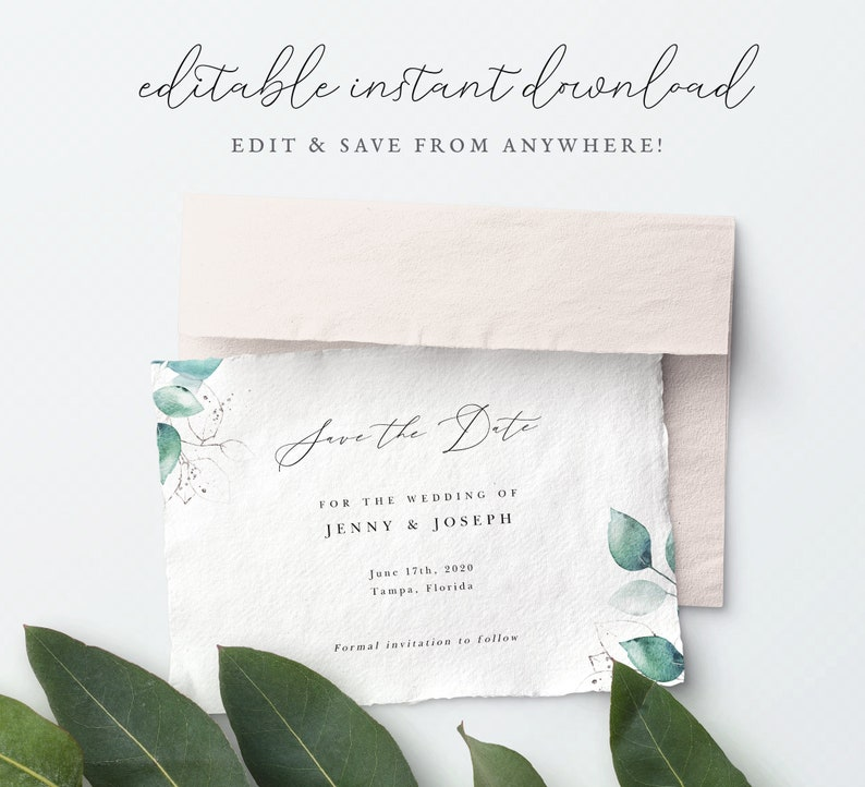 5x7 Save the Date Template Instant Download Boho Greenery image 0