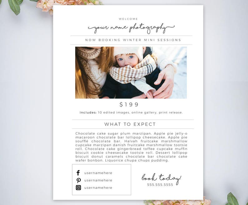 Email Template for Photographers, Mini Session Advertisement Email, Flyer,  Template, Design, Resources  PSD