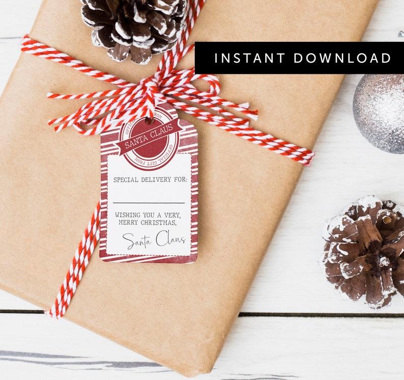 Printable Santa Gift Tag PDF Gift Wrapping Tag Gift Box image 0