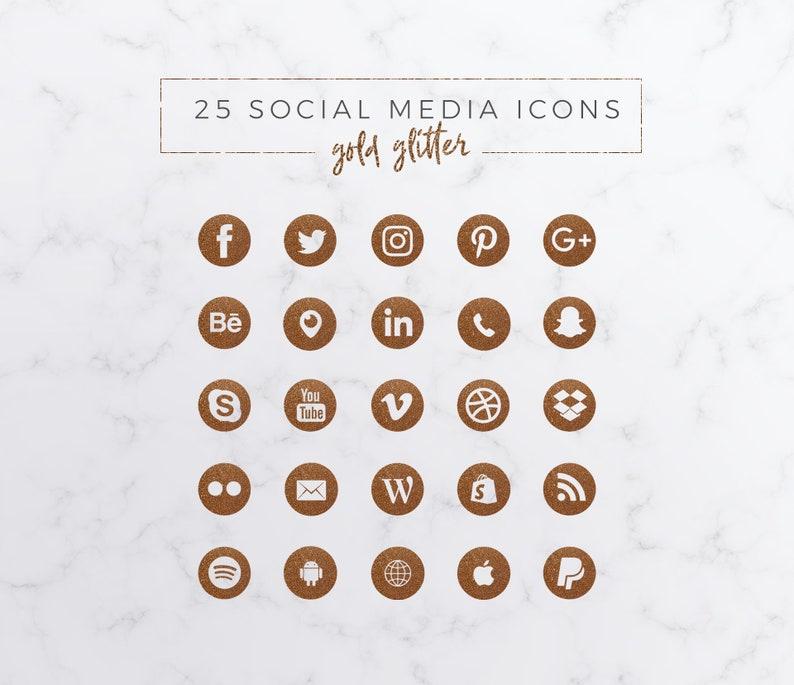 25 Social Media Icons Bundle Glitter Gold PNG image 0