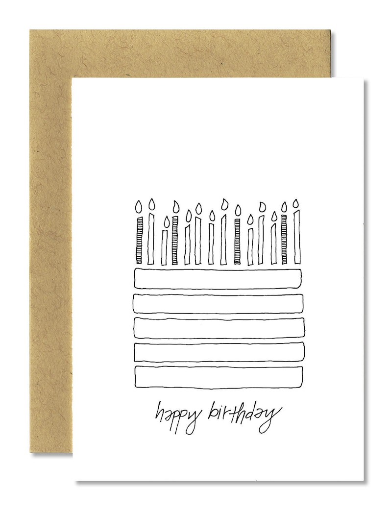 Birthday Cake  A1 Card Single or Set of 5 image 0