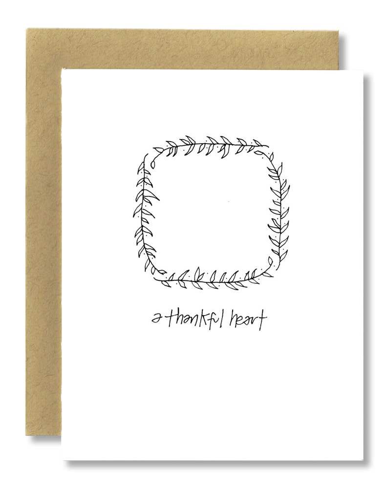 A Thankful Heart / Olive Branch  A2 Card Single or Set of 5 image 0