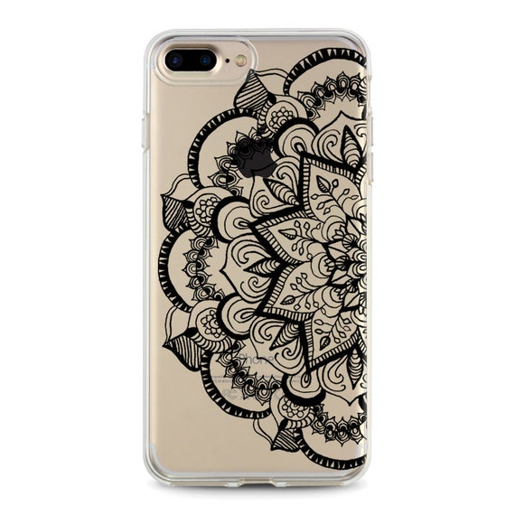 Black Mandala Clear Iphone 8 Plus Case With Design Iphone 7 Etsy