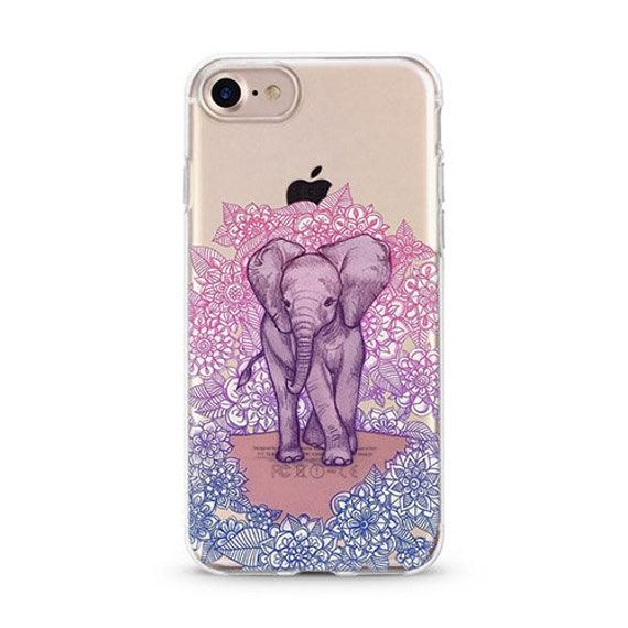 Purple Elephant Clear Iphone 8 Plus Case With Design Iphone 7 Etsy
