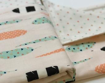 Girl Baby Blanket - Bib - Burp Cloth - Feathers - Dots Gift Set