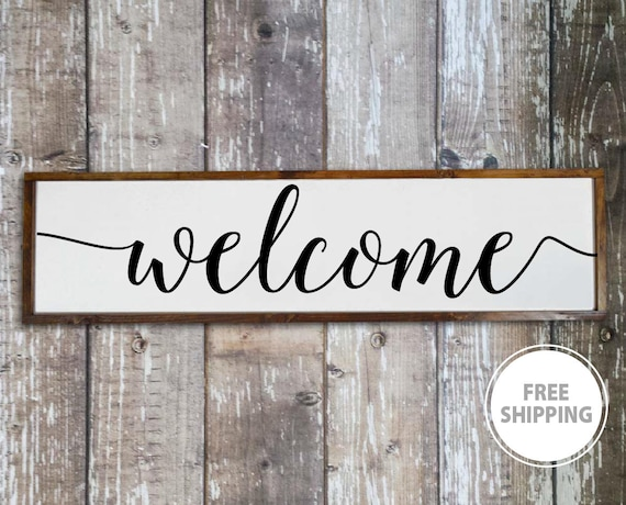 Welcome Sign For Front Porch Home Decor Signs Living Room Etsy