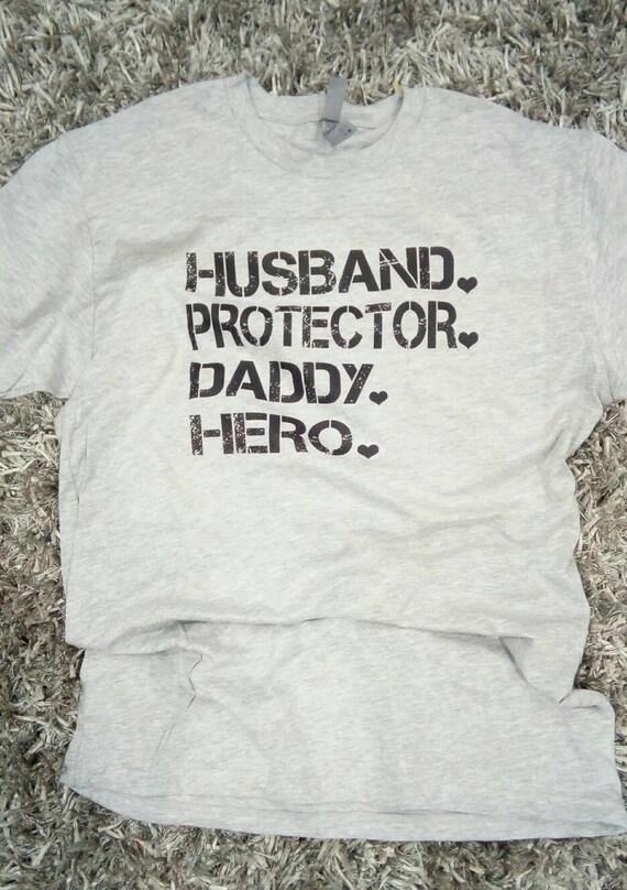 8fec7f612 Husband Protector a Daddy Hero dad shirt Best Dad Shirt | Etsy
