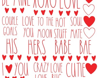 Set of 50 Valentine/'s Day Word Decals     3 SIZES  30 COLORS  Rae Dunn Inspired  Conversation Heart  Sticker  DIY