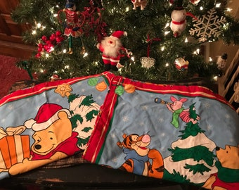 vintage winnie the pooh christmas pillow covers fabric panel finished set of 2 handmade