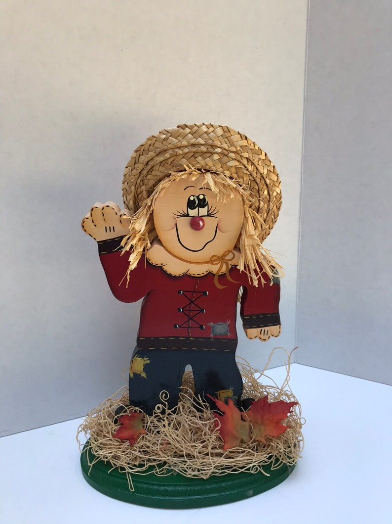 Vintage Handmade Wooden Scarecrow Thanksgiving Centerpiece Table Decor Home Decorexcellent Condition A Must See