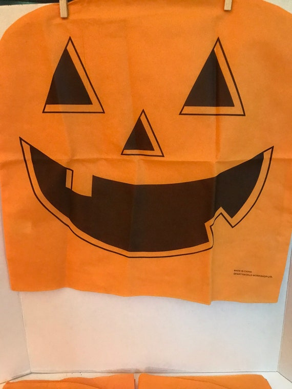 Strange 4 Vintage Pumpkin Chair Covers Halloween Party Decor Jack O Lantern Haunted House Seat Covers Excellent Condition Caraccident5 Cool Chair Designs And Ideas Caraccident5Info