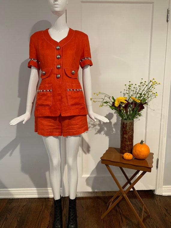 Vintage Gemma Kahng Linen Short Set