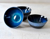 Blue and black ceramic soup bowl set