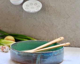 Ceramic bowl, blue salad bowl, ceramic pan, Salad bowl, Fruit bowl, Serving bowl, Decorating bowl, Pottery bowl, centerpiece bowl