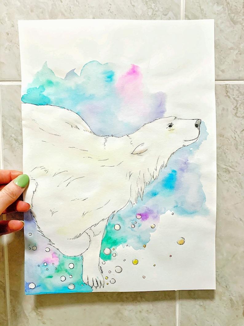 Percy Polar Bear Original Watercolour A4 image 0