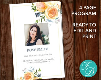 Yellow Rose Printable Funeral Program Template