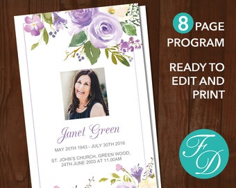 printable funeral program template 8 page celebration of etsy