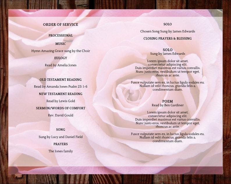 Celebration of Life Memorial Service Memorial Programs Funeral Program Template Order of Service 8 page Pink Rose Program 0199