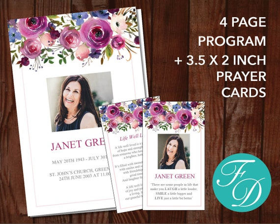 Watercolor Funeral Program Template Prayer Card Celebration Of Life Program Obituary Template Watercolor Funeral Templates 0136