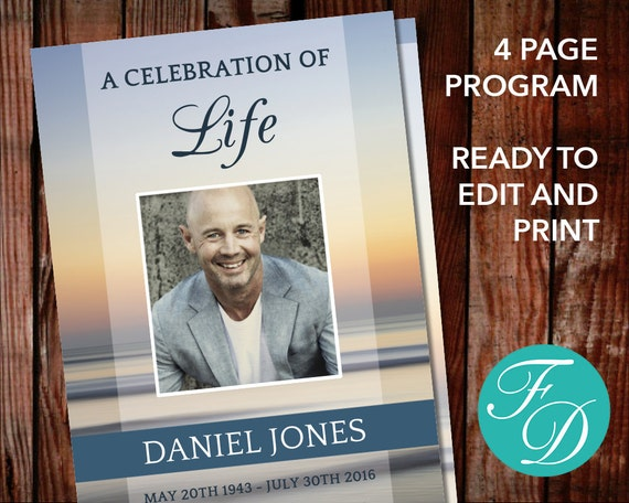 Funeral program template celebration of life memorial etsy image 0 maxwellsz