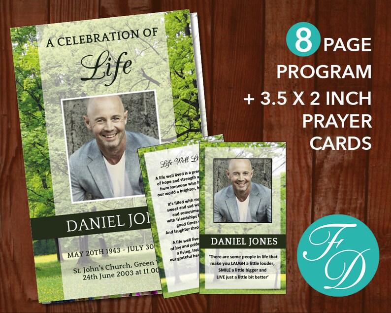 Woodland Funeral Program Template Printable Prayer Cards Etsy