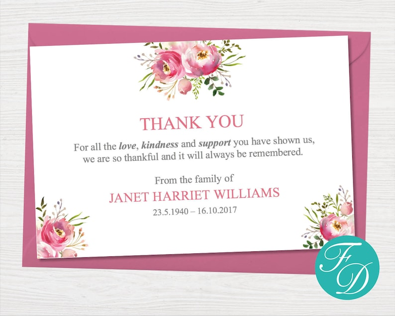 graphic about Printable Sympathy Cards called Purple Floral Funeral thank by yourself card - Printable Sympathy card Funeral Printables Funeral playing cards Sympathy Playing cards Funeral Templates 0131