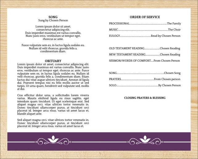 Beerdigung Programm Vorlage Auftrag des Services Programme | Etsy