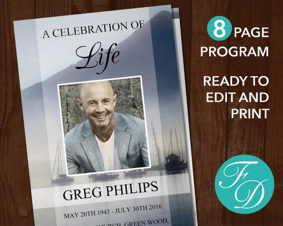 8 Page Funeral Program Template For Men Boat Celebration Of Life Program 8 Page Memorial Program Boat Obituary Template For Men