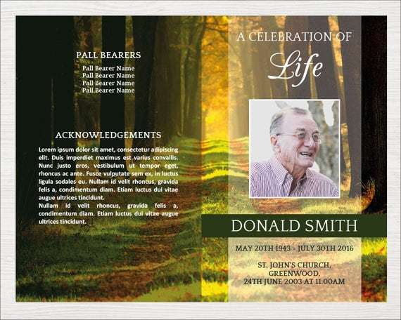 Forest Funeral Program Template Forest Memorial Program Trees Celebration Of Life Program Template Funeral Template With Trees