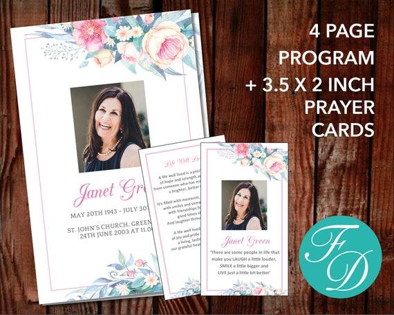 Delicate Floral Funeral Program Template Prayer Card Etsy