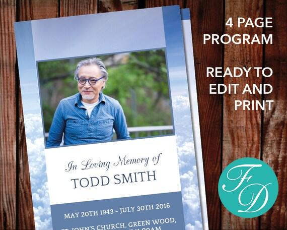 funeral program template order of service memorial etsy