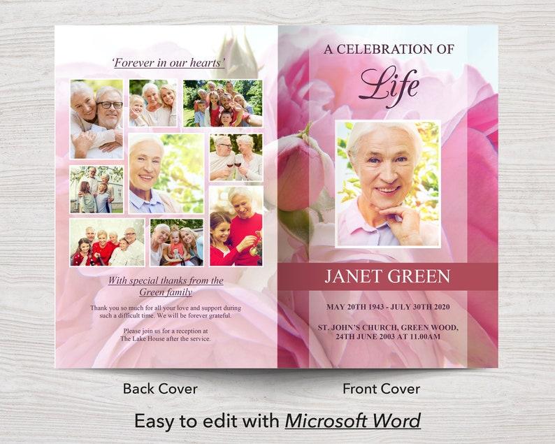 0142 Funeral Program Template Pink Celebration of Life Memorial Program Memorial Service Obituary Template Funeral Program Word