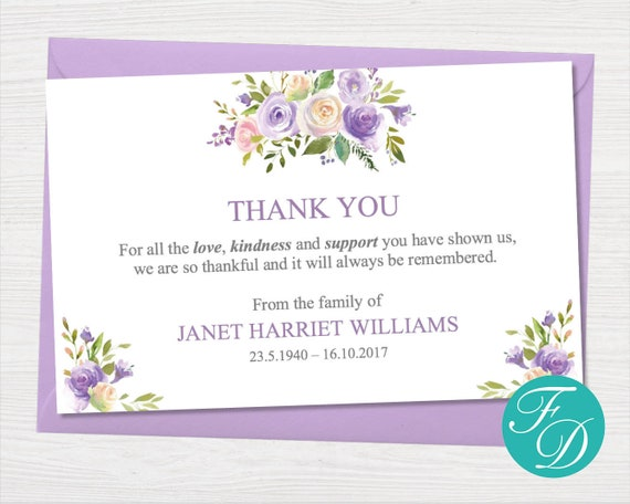 graphic regarding Printable Sympathy Cards identify Lilac Floral Funeral thank yourself card - Printable Sympathy card Funeral Printables Funeral playing cards Sympathy Playing cards Funeral Templates 0094