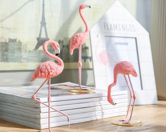 Flamingo resin figurine with gold plated metal base / High quality / paperweight / Desk decoration / Gift / Lunarbaystore.com