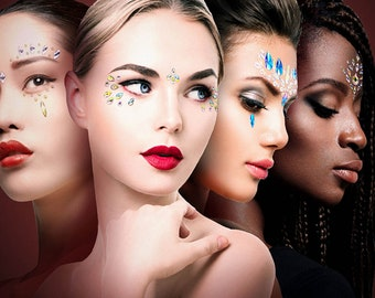 Large Flower Rhinestone Face /& Body Jewels Sticker For Festival Rave Ships in 1 day Festival Face Jewels Rave Festival Face Stickers