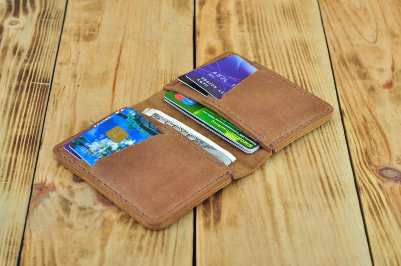 4c7c5bda1ef5 Small leather minimalist credit card holder and wallet with front pocket  Personalized slim leather case for men and women Сard organizer
