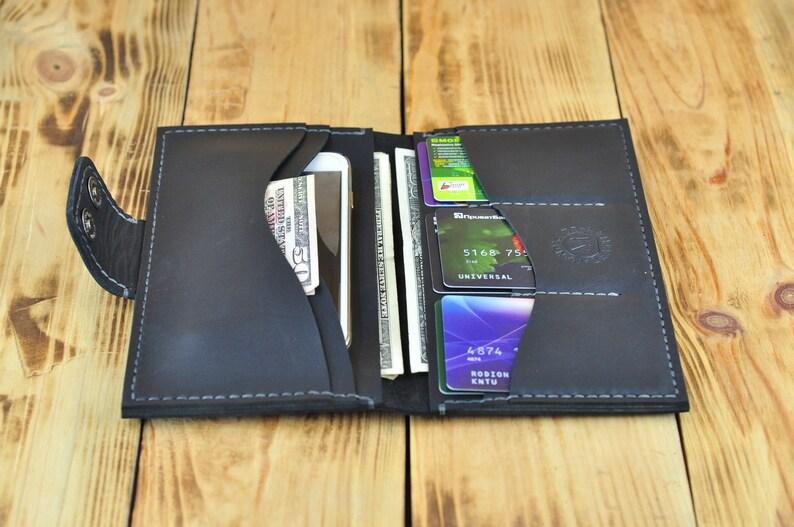 d908e66fbf62d Czarny portfel duży portfel portfel paszportowy portfel