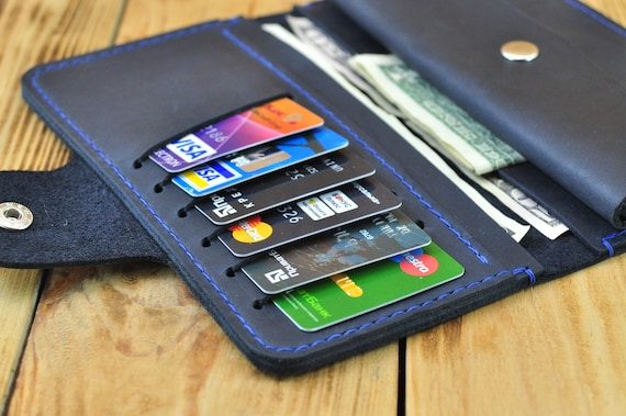 Blue leather wallet for women Credit card wallet Navy blue wallet Blue purse Billfold Card wallet Unique wallet Big Ladies blue wallet