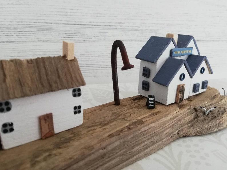 driftwood art handmade driftwood \u2013 whitstable village scene \u2013 driftwood driftwood house driftwood cottage little wooden house